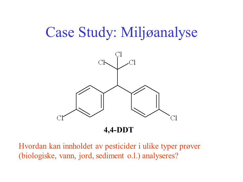 Case Study: Miljøanalyse 4,4-DDT Hvordan kan innholdet av pesticider i ulike typer prøver (biologiske, vann, jord, sediment o.l.) analyseres?