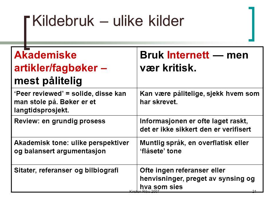 Kirsten Ribu 200721 Kildebruk – ulike kilder Akademiske artikler/fagbøker – mest pålitelig Bruk Internett — men vær kritisk.