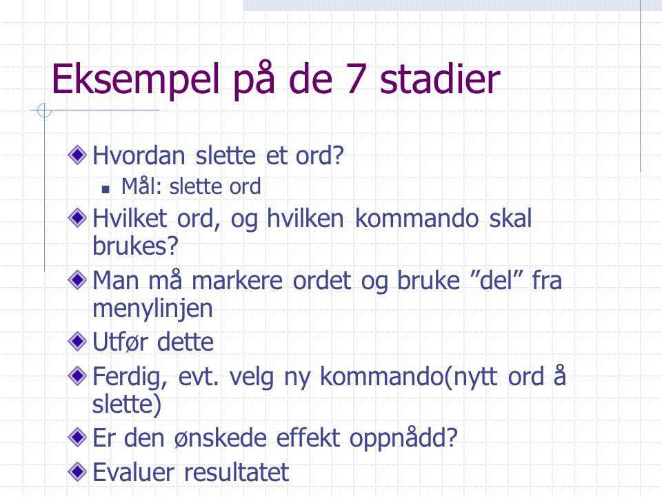 Eksempel på de 7 stadier Hvordan slette et ord.