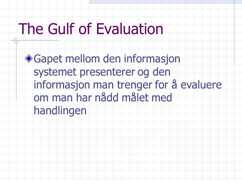 The Gulf of Evaluation Gapet mellom den informasjon systemet presenterer og den informasjon man trenger for å evaluere om man har nådd målet med handlingen