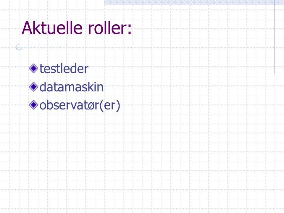 Aktuelle roller: testleder datamaskin observatør(er)