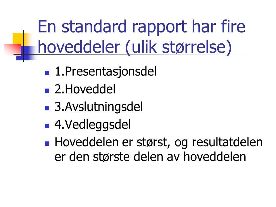 En standard rapport har fire hoveddeler (ulik størrelse) 1.Presentasjonsdel 2.Hoveddel 3.Avslutningsdel 4.Vedleggsdel Hoveddelen er størst, og resultatdelen er den største delen av hoveddelen