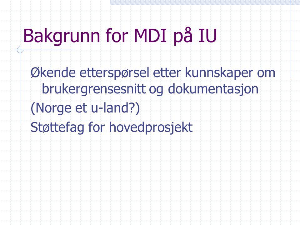 Bakgrunn for MDI på IU Økende etterspørsel etter kunnskaper om brukergrensesnitt og dokumentasjon (Norge et u-land?) Støttefag for hovedprosjekt