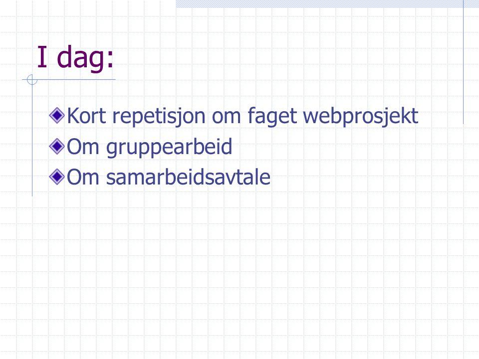 I dag: Kort repetisjon om faget webprosjekt Om gruppearbeid Om samarbeidsavtale
