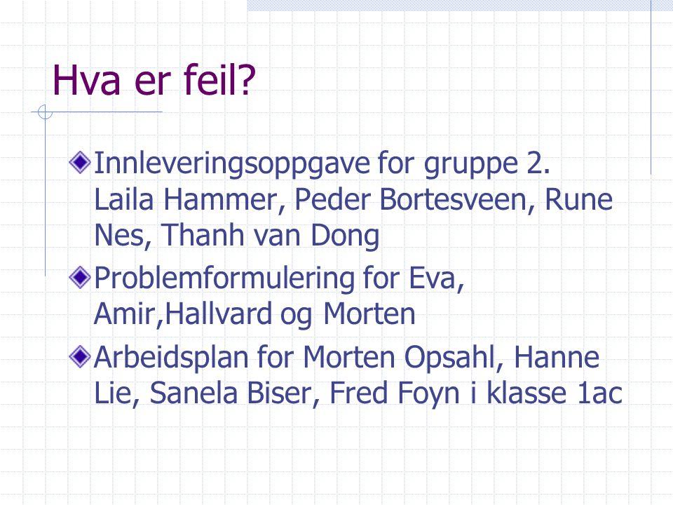 Hva er feil? Innleveringsoppgave for gruppe 2. Laila Hammer, Peder Bortesveen, Rune Nes, Thanh van Dong Problemformulering for Eva, Amir,Hallvard og M