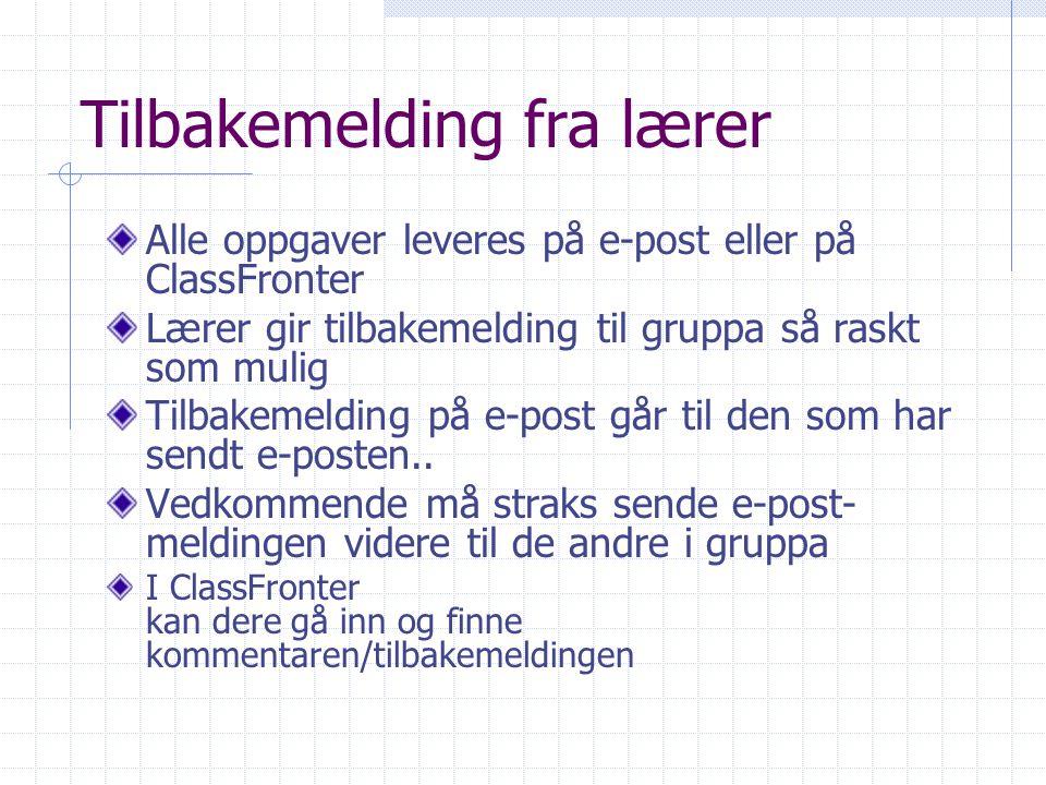 Tilbakemelding fra lærer Alle oppgaver leveres på e-post eller på ClassFronter Lærer gir tilbakemelding til gruppa så raskt som mulig Tilbakemelding p