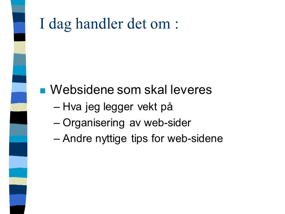 I dag handler det om : n Websidene som skal leveres –Hva jeg legger vekt på –Organisering av web-sider –Andre nyttige tips for web-sidene