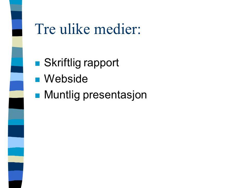 Tre ulike medier: n Skriftlig rapport n Webside n Muntlig presentasjon