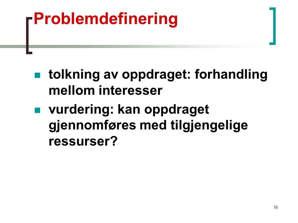 16 Problemdefinering tolkning av oppdraget: forhandling mellom interesser vurdering: kan oppdraget gjennomføres med tilgjengelige ressurser?