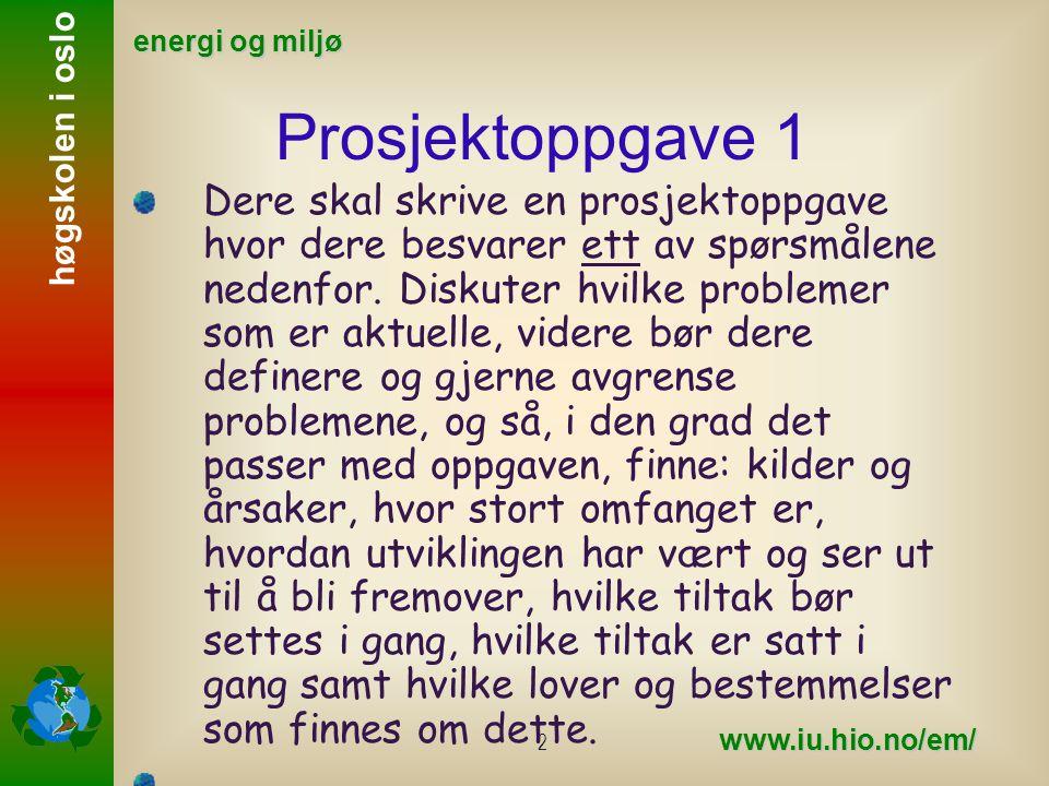 høgskolen i oslo energi og miljø www.iu.hio.no/em/ 3 I besvarelsen skal dere følge mal for skriving av prosjektrapport så godt dere kan.