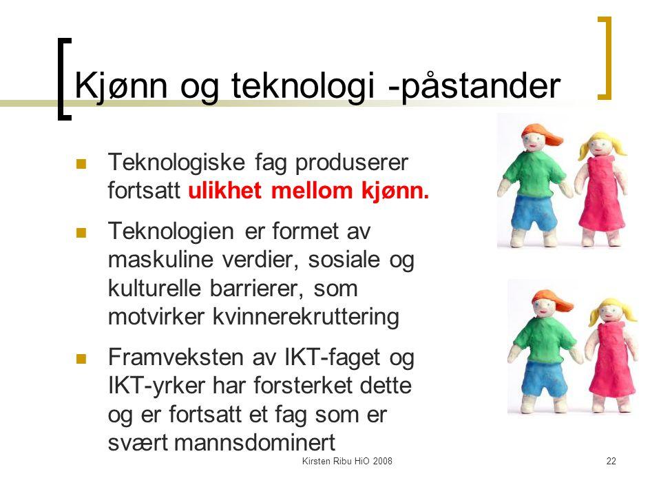 Kirsten Ribu HiO 200822 Kjønn og teknologi -påstander Teknologiske fag produserer fortsatt ulikhet mellom kjønn. Teknologien er formet av maskuline ve