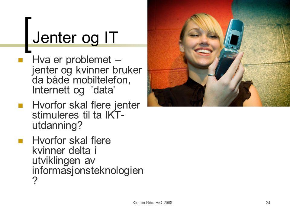 Kirsten Ribu HiO 200824 Jenter og IT Hva er problemet – jenter og kvinner bruker da både mobiltelefon, Internett og 'data' Hvorfor skal flere jenter s
