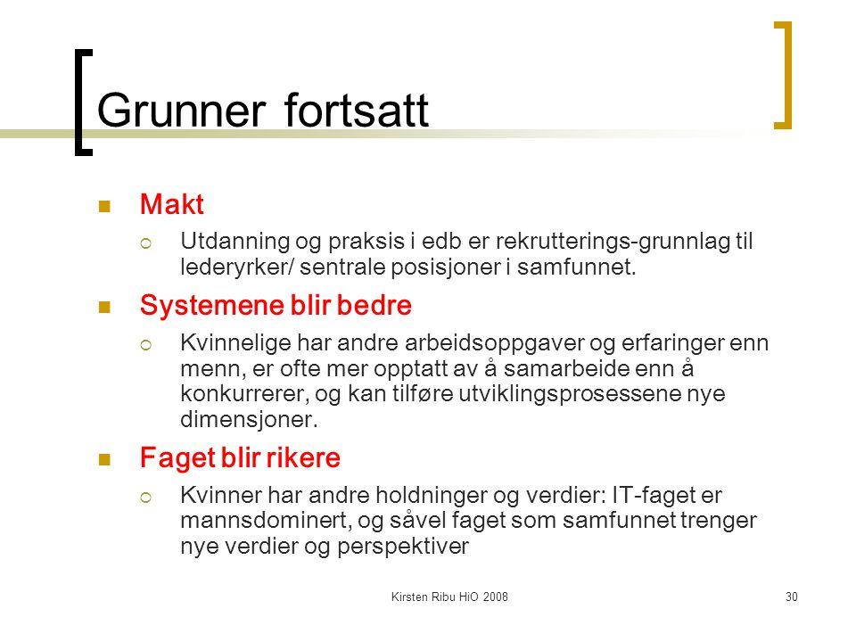 Kirsten Ribu HiO 200830 Grunner fortsatt Makt  Utdanning og praksis i edb er rekrutterings-grunnlag til lederyrker/ sentrale posisjoner i samfunnet.