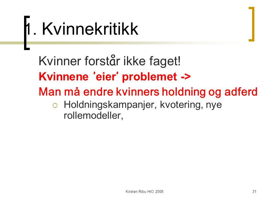 Kirsten Ribu HiO 200831 1. Kvinnekritikk Kvinner forst å r ikke faget! Kvinnene ' eier ' problemet -> Man må endre kvinners holdning og adferd  Holdn