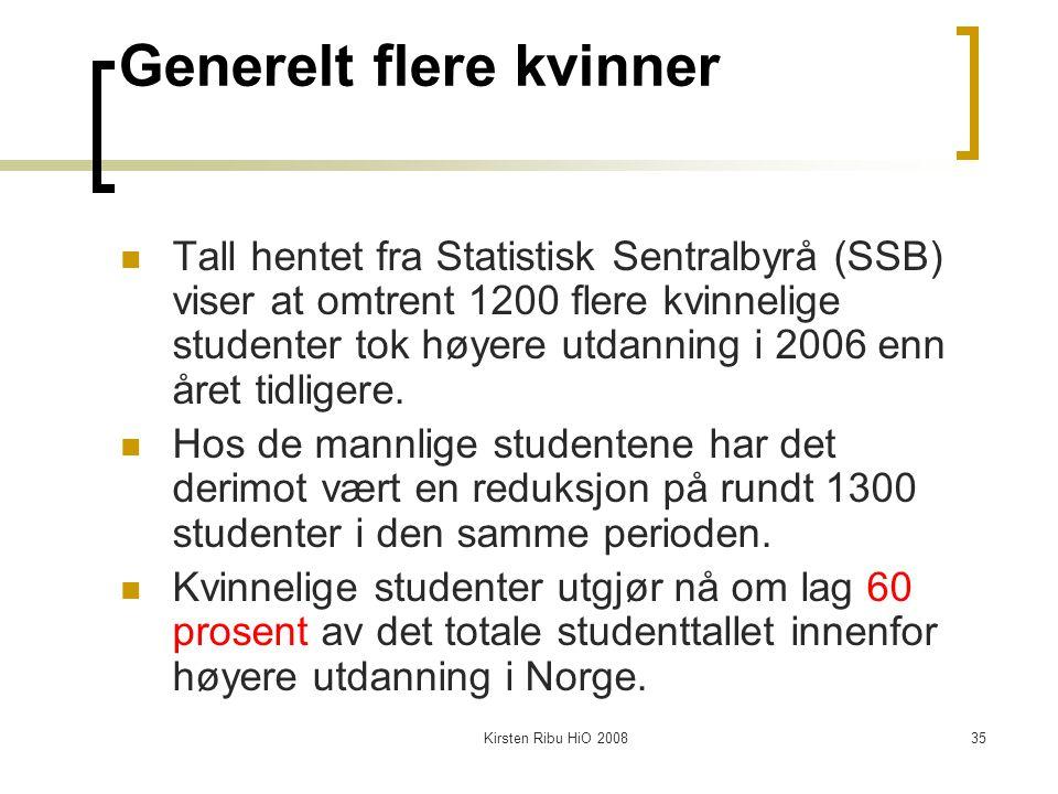 Kirsten Ribu HiO 200835 Generelt flere kvinner Tall hentet fra Statistisk Sentralbyrå (SSB) viser at omtrent 1200 flere kvinnelige studenter tok høyer