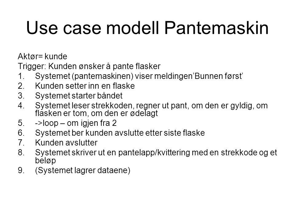Use case modell Pantemaskin Aktør= kunde Trigger: Kunden ønsker å pante flasker 1.Systemet (pantemaskinen) viser meldingen'Bunnen først' 2.Kunden sett