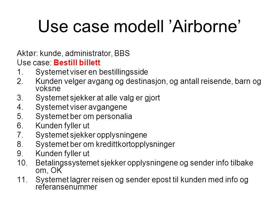 Use case modell 'Airborne' Aktør: kunde, administrator, BBS Use case: Bestill billett 1.Systemet viser en bestillingsside 2.Kunden velger avgang og de
