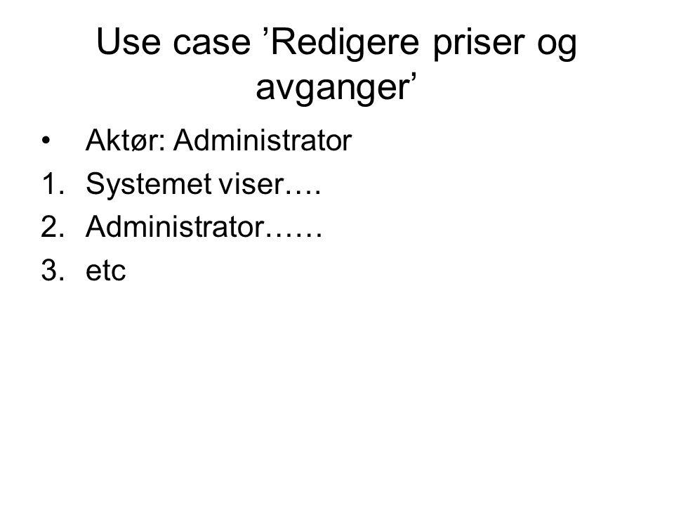 Use case 'Redigere priser og avganger' Aktør: Administrator 1.Systemet viser…. 2.Administrator…… 3.etc