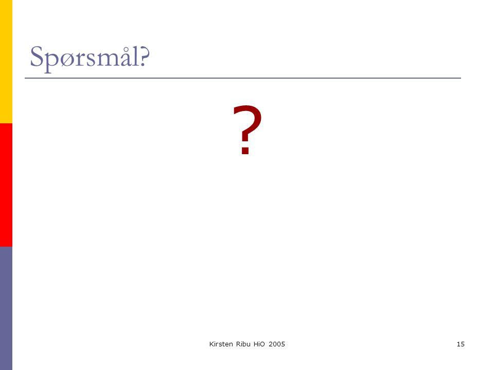 Kirsten Ribu HiO 200515 Spørsmål? ?