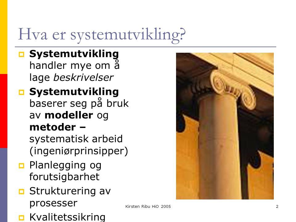 Kirsten Ribu HiO 20052 Hva er systemutvikling?  Systemutvikling handler mye om å lage beskrivelser  Systemutvikling baserer seg på bruk av modeller
