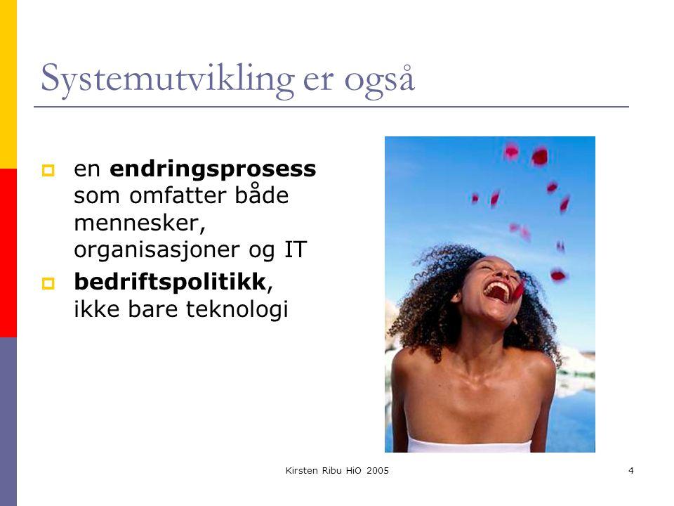 Kirsten Ribu HiO 20054 Systemutvikling er også  en endringsprosess som omfatter både mennesker, organisasjoner og IT  bedriftspolitikk, ikke bare teknologi