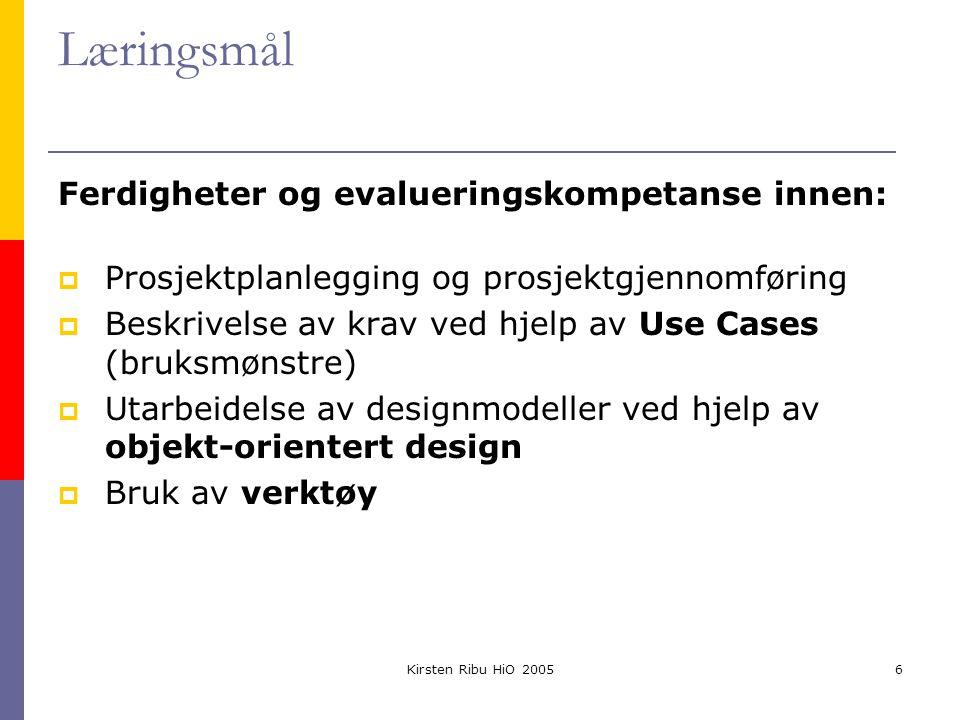 Kirsten Ribu HiO 20056 Læringsmål Ferdigheter og evalueringskompetanse innen:  Prosjektplanlegging og prosjektgjennomføring  Beskrivelse av krav ved hjelp av Use Cases (bruksmønstre)  Utarbeidelse av designmodeller ved hjelp av objekt-orientert design  Bruk av verktøy