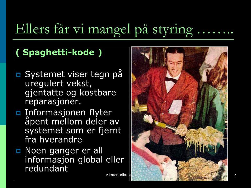 Kirsten Ribu HiO 20057 Ellers får vi mangel på styring …….. ( Spaghetti-kode )  Systemet viser tegn på uregulert vekst, gjentatte og kostbare reparas