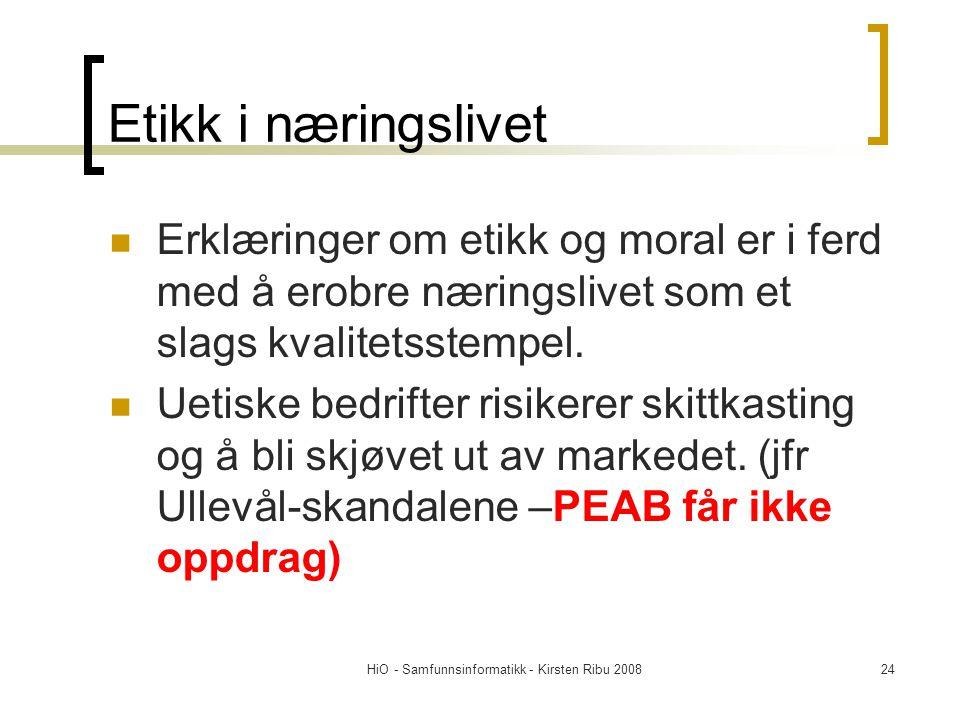 HiO - Samfunnsinformatikk - Kirsten Ribu 200824 Etikk i næringslivet Erklæringer om etikk og moral er i ferd med å erobre næringslivet som et slags kv