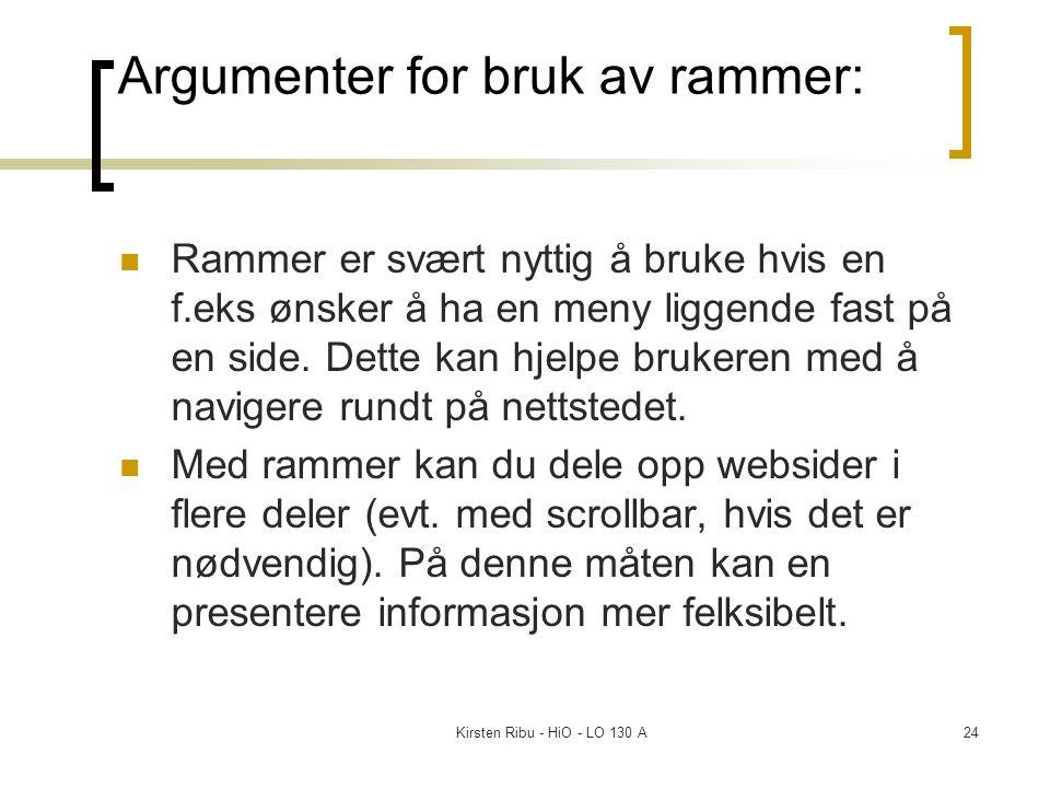 Kirsten Ribu - HiO - LO 130 A24 Argumenter for bruk av rammer: Rammer er svært nyttig å bruke hvis en f.eks ønsker å ha en meny liggende fast på en si