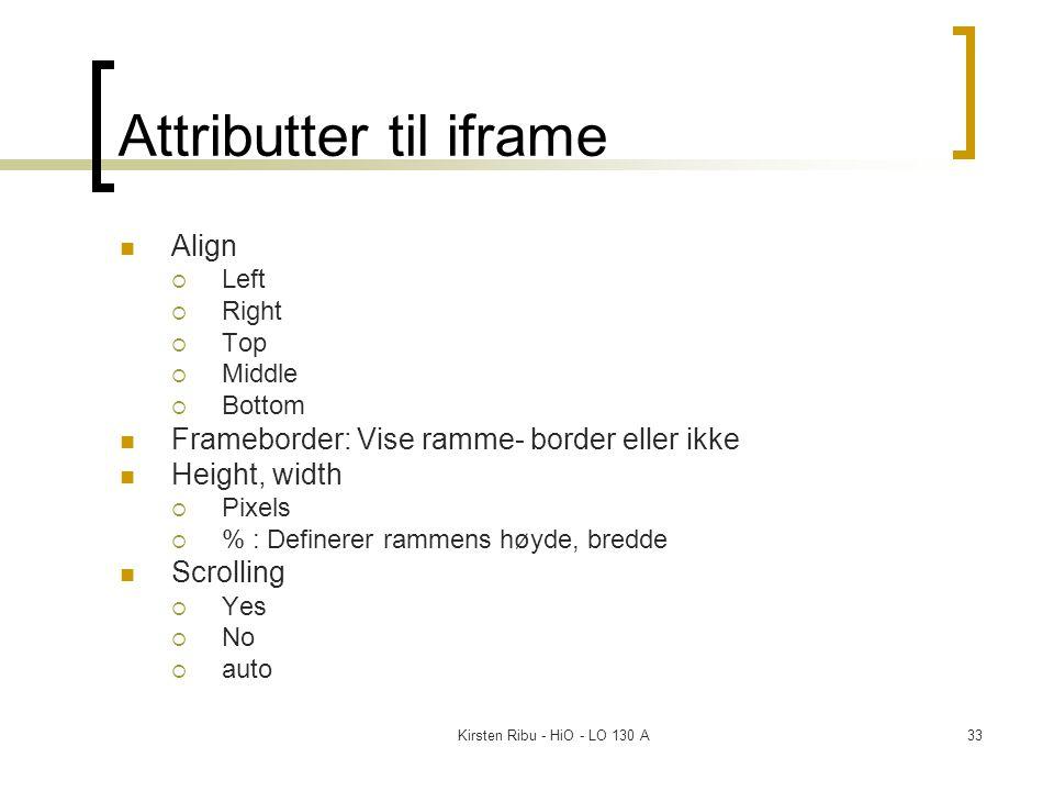 Kirsten Ribu - HiO - LO 130 A33 Attributter til iframe Align  Left  Right  Top  Middle  Bottom Frameborder: Vise ramme- border eller ikke Height, width  Pixels  % : Definerer rammens høyde, bredde Scrolling  Yes  No  auto