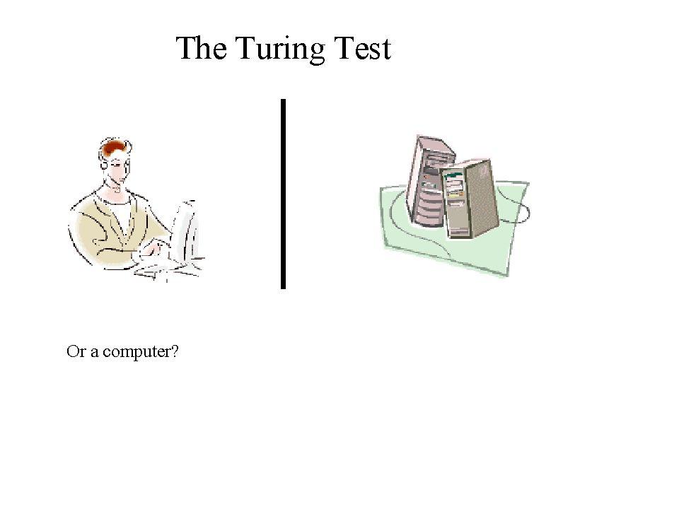 Turing-testen En person stiller alle mulige spørsmål til noe som enten er en maskin eller et menneske.