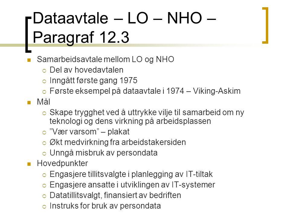 Dataavtale – LO – NHO – Paragraf 12.3 Samarbeidsavtale mellom LO og NHO  Del av hovedavtalen  Inngått første gang 1975  Første eksempel på dataavta