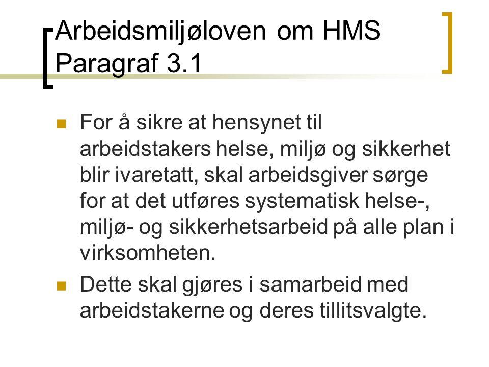 Arbeidsmiljøloven om HMS Paragraf 3.1 For å sikre at hensynet til arbeidstakers helse, miljø og sikkerhet blir ivaretatt, skal arbeidsgiver sørge for