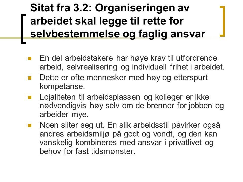 Sitat fra 3.2: Organiseringen av arbeidet skal legge til rette for selvbestemmelse og faglig ansvar En del arbeidstakere har høye krav til utfordrende