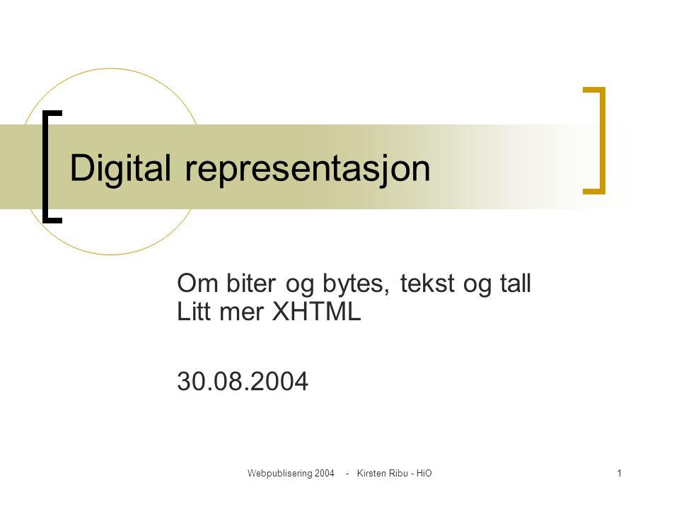 Webpublisering 2004 - Kirsten Ribu - HiO1 Digital representasjon Om biter og bytes, tekst og tall Litt mer XHTML 30.08.2004