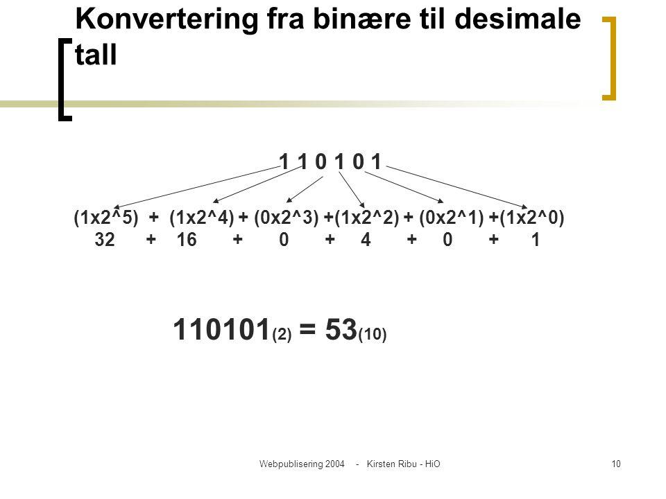 Webpublisering 2004 - Kirsten Ribu - HiO10 Konvertering fra binære til desimale tall 1 1 0 1 0 1 (1x2^5) + (1x2^4) + (0x2^3) +(1x2^2) + (0x2^1) +(1x2^