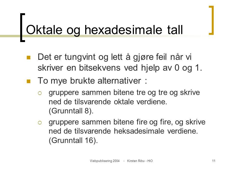 Webpublisering 2004 - Kirsten Ribu - HiO11 Oktale og hexadesimale tall Det er tungvint og lett å gjøre feil når vi skriver en bitsekvens ved hjelp av