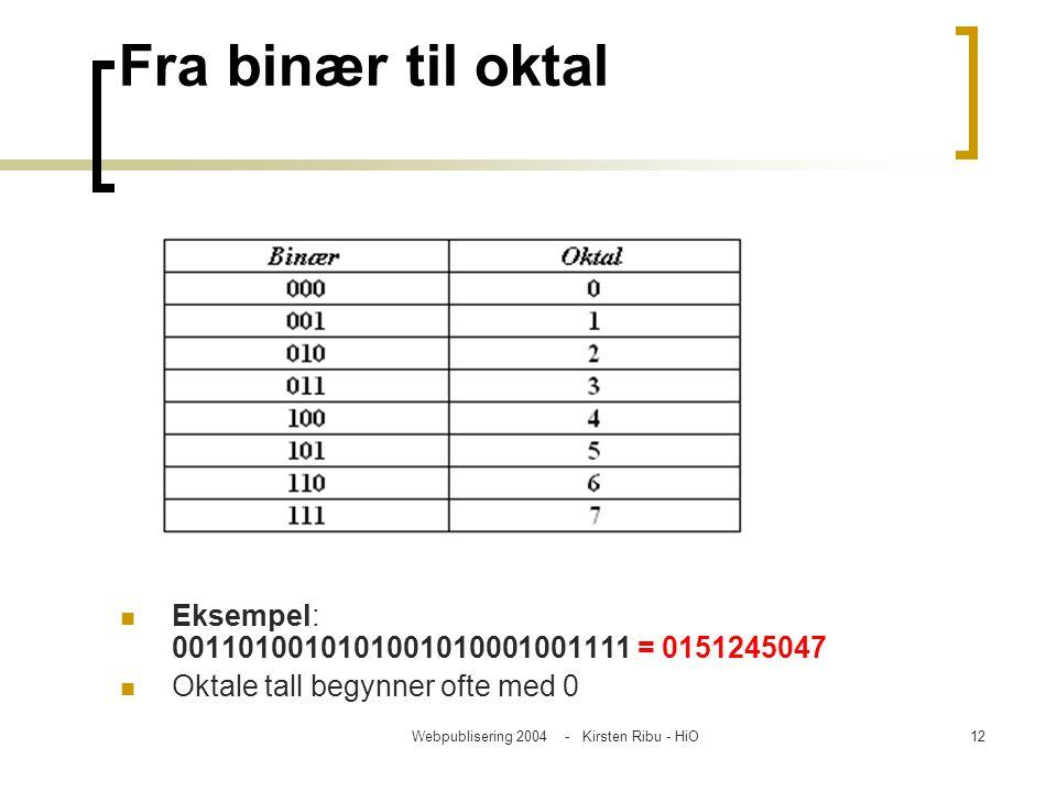 Webpublisering 2004 - Kirsten Ribu - HiO12 Fra binær til oktal Eksempel: 0011010010101001010001001111 = 0151245047 Oktale tall begynner ofte med 0