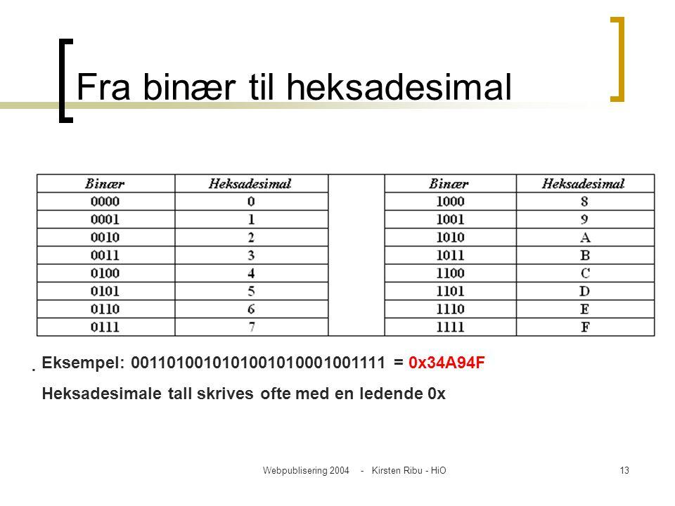 Webpublisering 2004 - Kirsten Ribu - HiO13 Fra binær til heksadesimal Eksempel: 0011010010101001010001001111 = 0x34A94F Heksadesimale tall skrives of