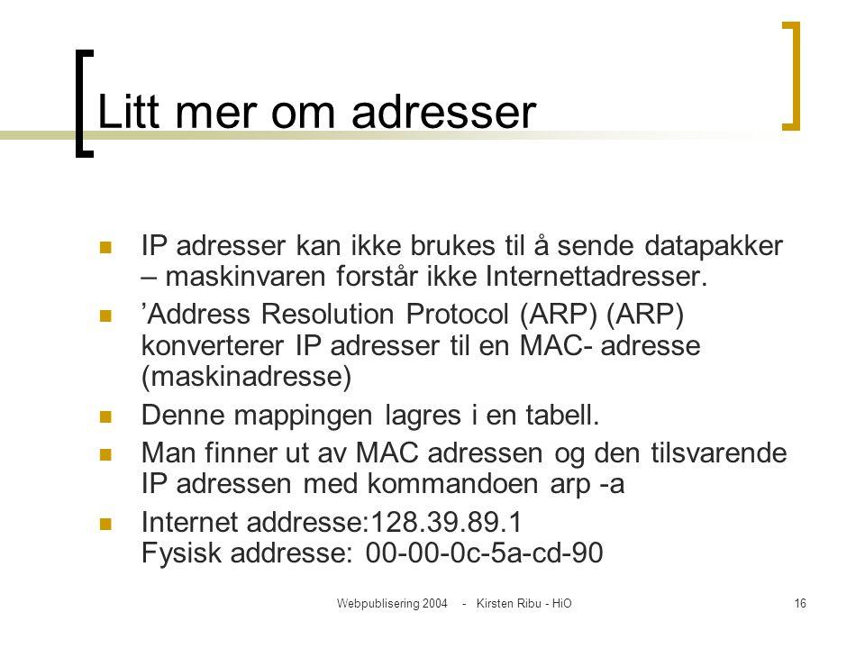 Webpublisering 2004 - Kirsten Ribu - HiO16 Litt mer om adresser IP adresser kan ikke brukes til å sende datapakker – maskinvaren forstår ikke Internet