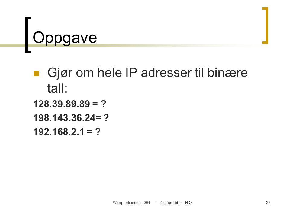 Webpublisering 2004 - Kirsten Ribu - HiO22 Oppgave Gjør om hele IP adresser til binære tall: 128.39.89.89 = ? 198.143.36.24= ? 192.168.2.1 = ?