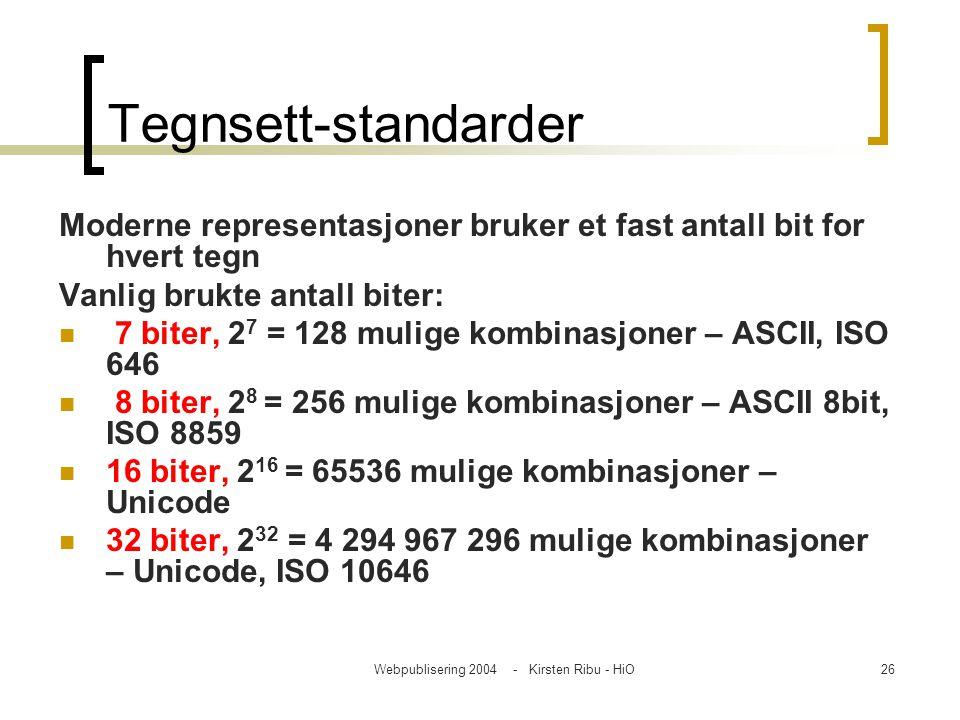 Webpublisering 2004 - Kirsten Ribu - HiO26 Tegnsett-standarder Moderne representasjoner bruker et fast antall bit for hvert tegn Vanlig brukte antall