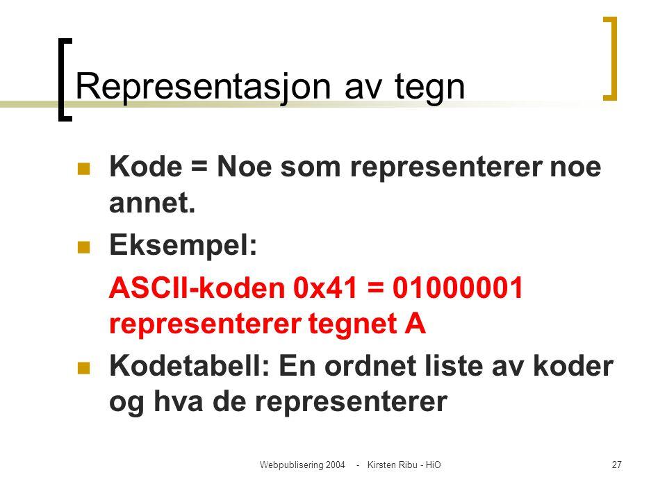 Webpublisering 2004 - Kirsten Ribu - HiO27 Representasjon av tegn Kode = Noe som representerer noe annet. Eksempel: ASCII-koden 0x41 = 01000001 repres