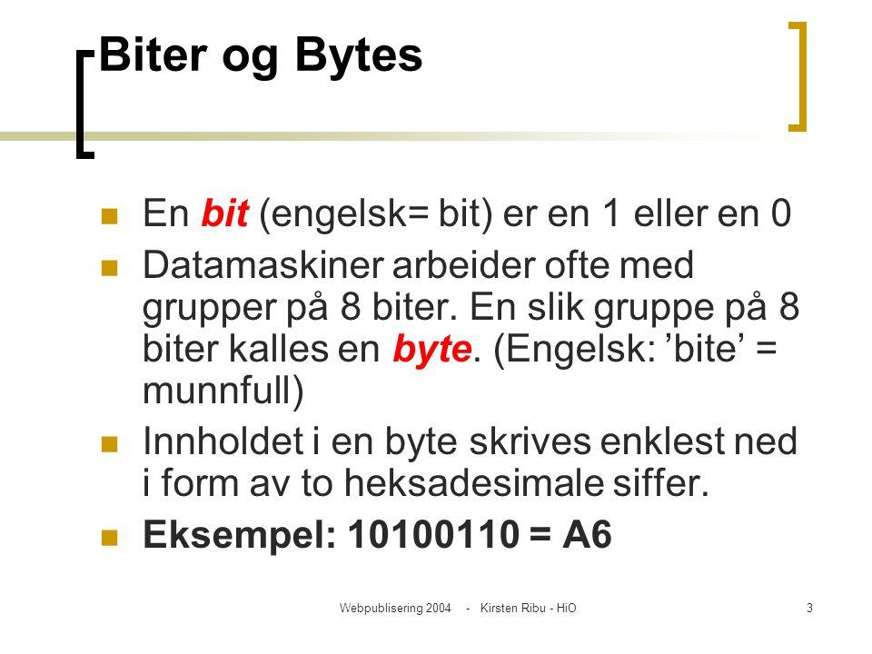 Webpublisering 2004 - Kirsten Ribu - HiO3 Biter og Bytes En bit (engelsk= bit) er en 1 eller en 0 Datamaskiner arbeider ofte med grupper på 8 biter. E