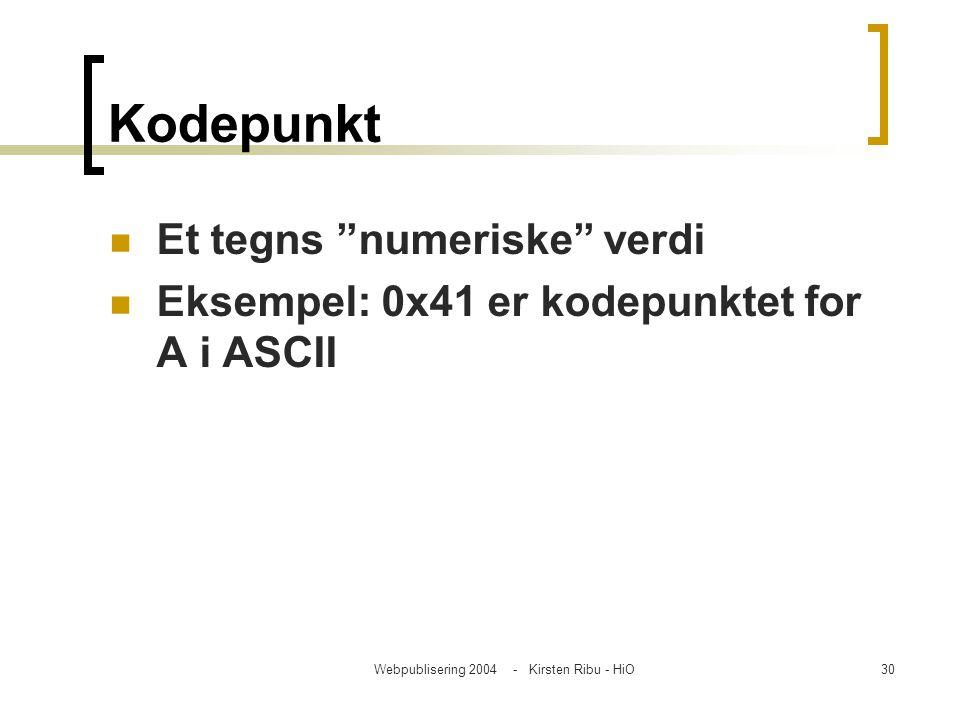 """Webpublisering 2004 - Kirsten Ribu - HiO30 Kodepunkt Et tegns """"numeriske"""" verdi Eksempel: 0x41 er kodepunktet for A i ASCII"""