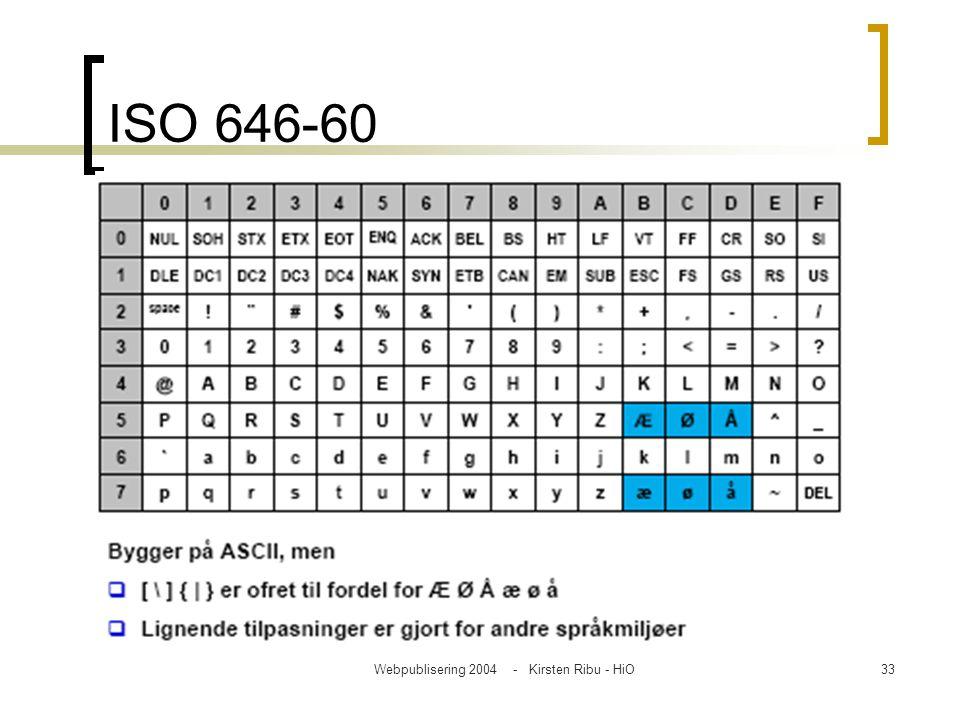 Webpublisering 2004 - Kirsten Ribu - HiO33 ISO 646-60