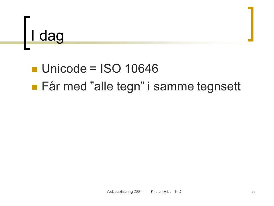 """Webpublisering 2004 - Kirsten Ribu - HiO36 I dag Unicode = ISO 10646 Får med """"alle tegn"""" i samme tegnsett"""