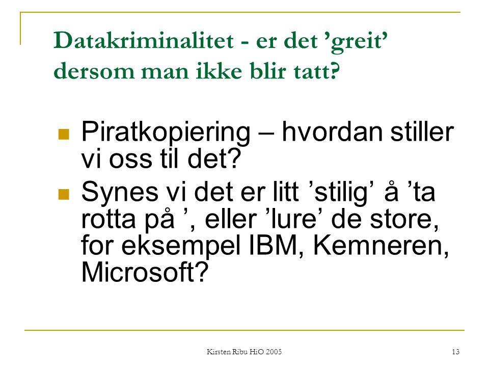 Kirsten Ribu HiO 2005 13 Datakriminalitet - er det 'greit' dersom man ikke blir tatt? Piratkopiering – hvordan stiller vi oss til det? Synes vi det er