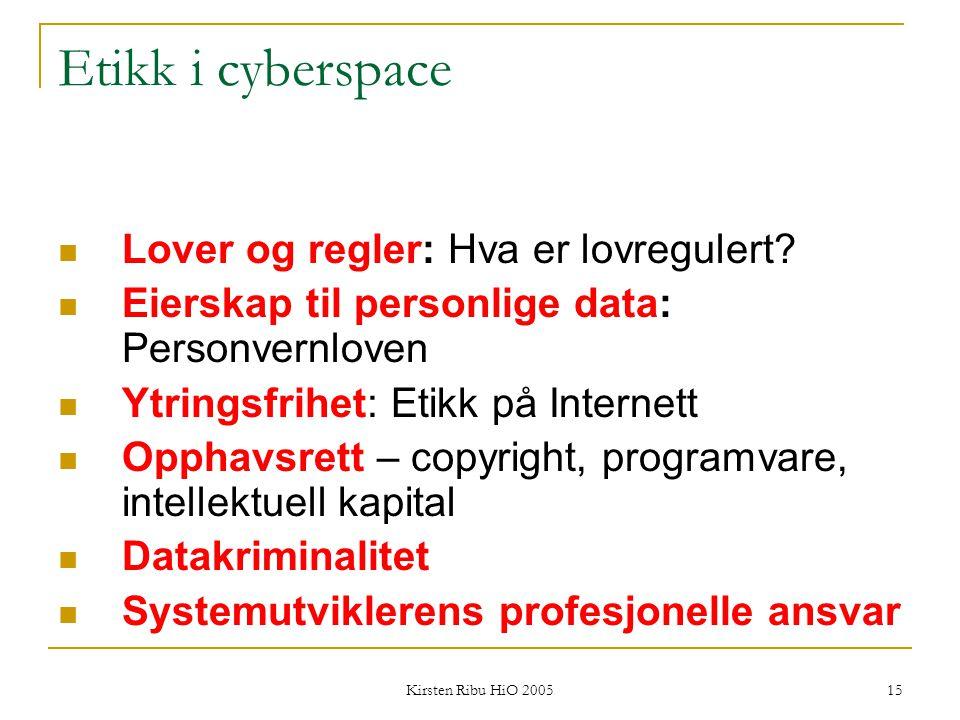Kirsten Ribu HiO 2005 15 Etikk i cyberspace Lover og regler: Hva er lovregulert? Eierskap til personlige data: Personvernloven Ytringsfrihet: Etikk på