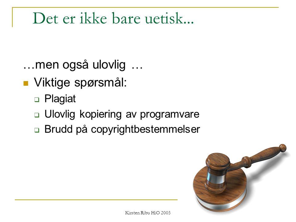 Kirsten Ribu HiO 2005 21 Det er ikke bare uetisk... …men også ulovlig … Viktige spørsmål:  Plagiat  Ulovlig kopiering av programvare  Brudd på copy